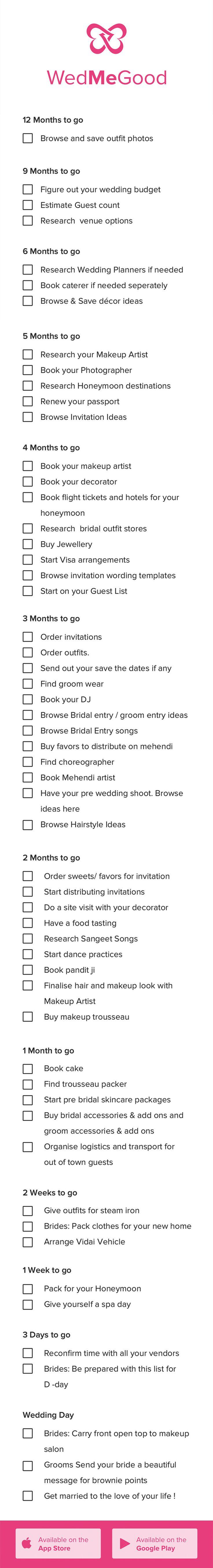 Indian Wedding Checklist . WedMeGood Checklist - Things to Do 1 Year Checklist for a Bride to Be | WedMeGood | #bride2be #checklist #indianwedding #indianbride #bride #wedmegood