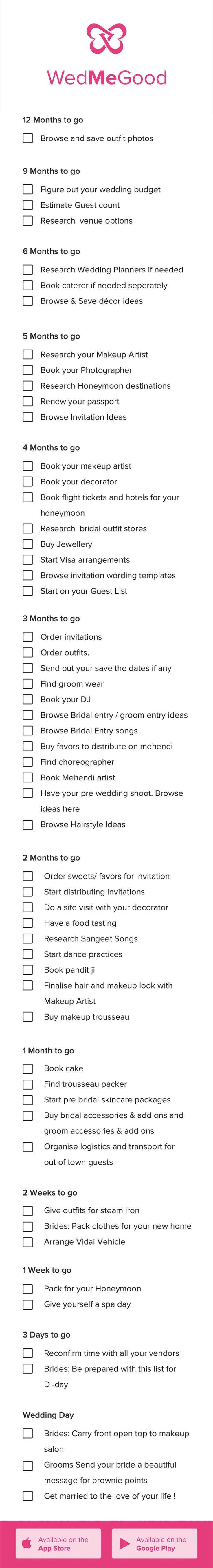 Indian Wedding Checklist . WedMeGood Checklist - Things to Do 1 Year Checklist…