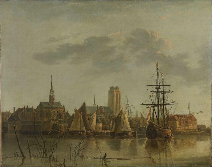 Gezicht op Dordrecht bij zonsondergang, copy after Aelbert Cuyp, 1700 - 1799