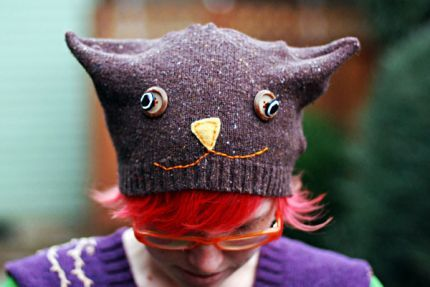 Some simple sewing and embellishing can turn a recycled sweater into this supercute hat!