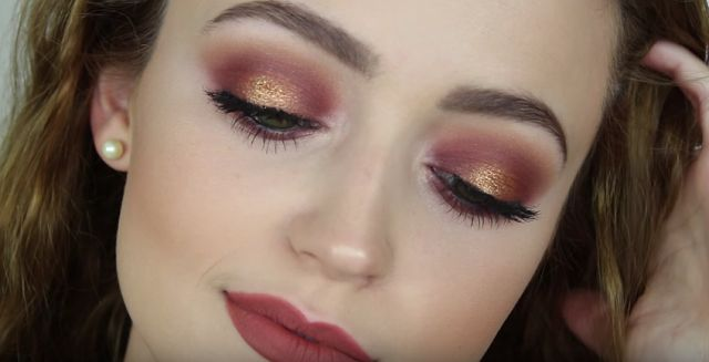 Golden Burgundy Makeup Look