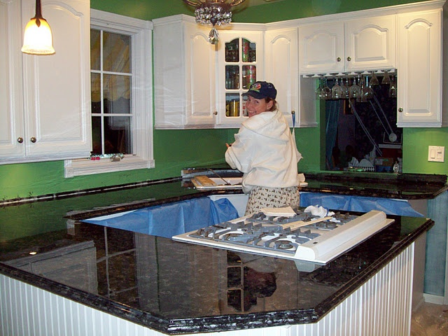 paint, glitter, epoxy to redo formica countertops to look like granite ...