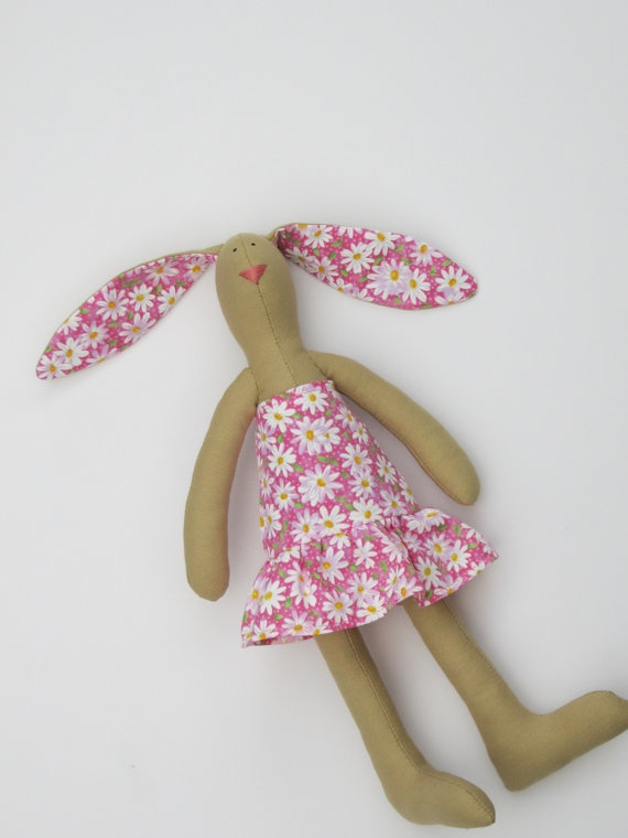 Plush Easter bunny rabbit hare softie Tilda by HappyDollsByLesya on etsy.