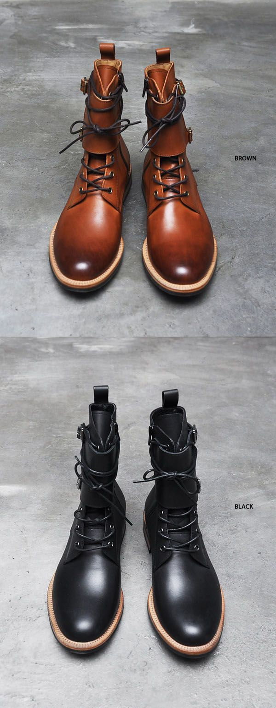 Shoes :: Double Buckle Strap Vanish Kipskin Boots