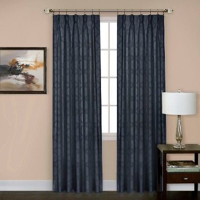 achim sheer windsor navy pinch pleat window curtain panel 34 in w x 84 in the home depot