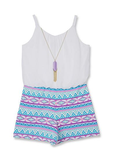 Amy Byer Solid to Print 2Fer Romper Girls 7-16