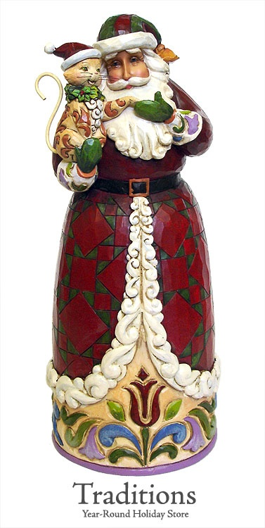 JIM SHORE  SANTA HOLDING CHRISTMAS CAT  Resin 11x4""