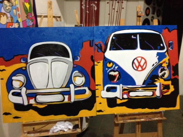 Acrilic paint POP ART - Kombi and Fusca