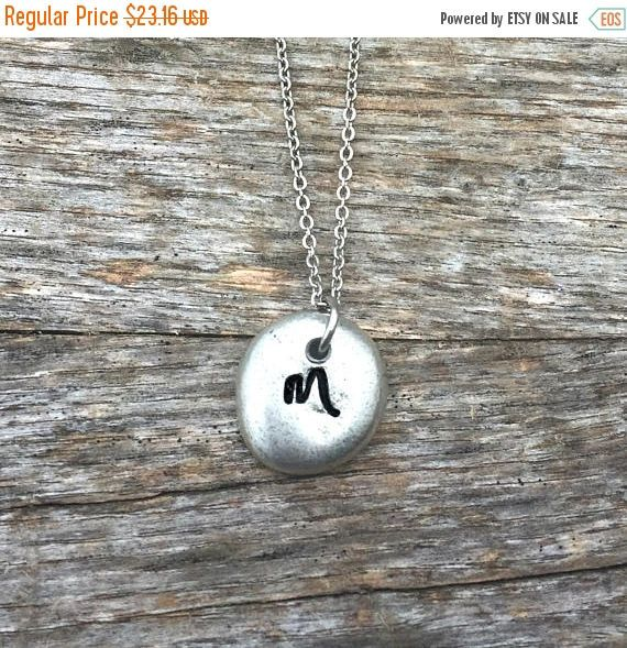 Initial Necklace, Mother's Day, Pewter Pebble, Hand stamped Jewelry, Minimalist Style, Bridesmaids, Couples Jewelry, Monogram, Gifts For Her