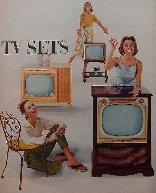 TV sets - Black and white with no remotes.  You were tickled to get more than one channel that you didn't mind getting up to change it.  Of course the parents always had the kids do the changing of the channel.  LOL