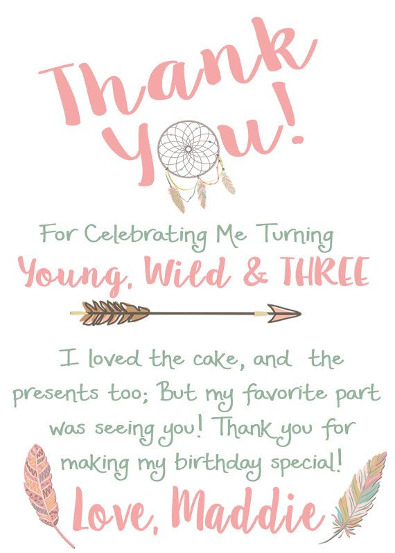 Young Wild and Three Birthday Thank You Card Tribal Thanks