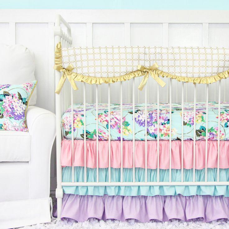 Caden Lane Baby Bedding - Holly's Hydrangea Bumperless Crib Bedding, $172.00 (http://cadenlane.com/hollys-hydrangea-bumperless-crib-bedding/)