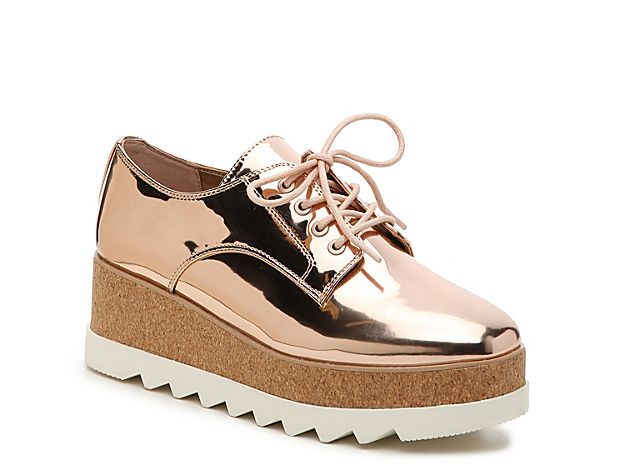 Women Vellezzo Wedge Oxford Rose Gold Metallic Patent
