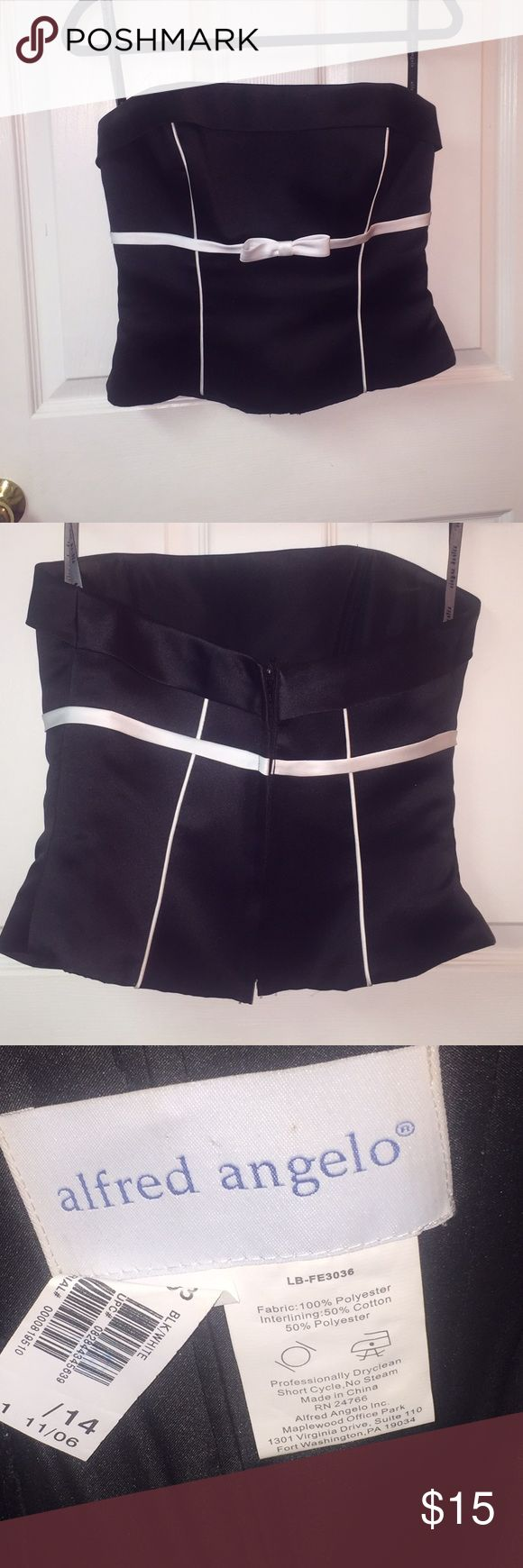 Alfred Angelo black strapless bustier top EUC black polyester satin strapless bustier top with white accents. Alfred Angelo. Zipper in back. Boning. Really pretty top. Labeled size 14 but is not stretchy and has no give. Alfred Angelo Tops
