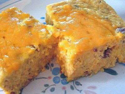 Simple egg and cornmeal pudding with leftover refried beans