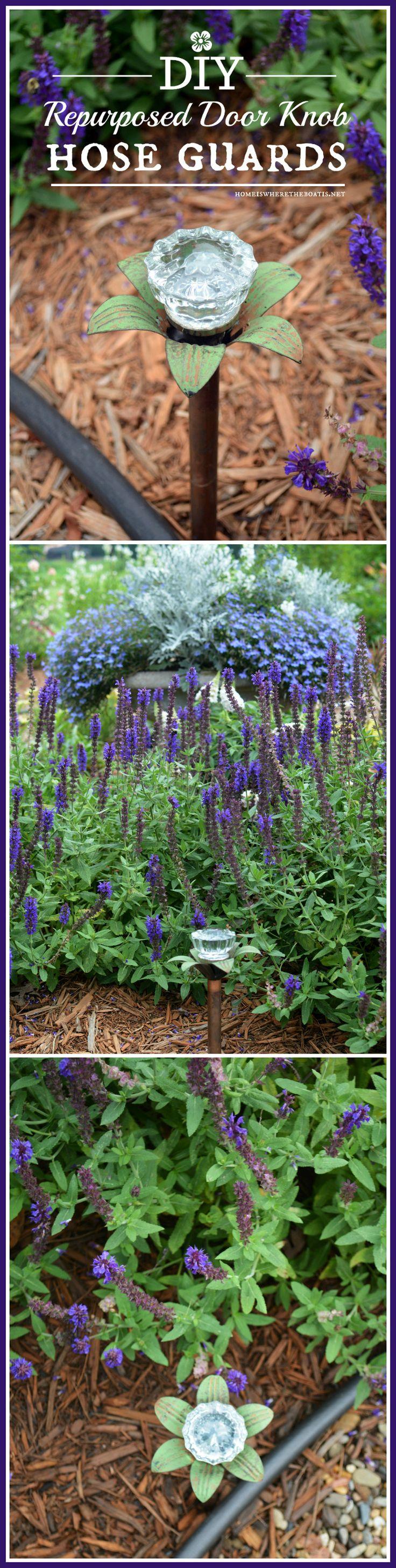 Fun and Functional Garden DIY: Blooming Door Knob Hose Guards! | homeiswheretheboatis.net #upcycle #garden