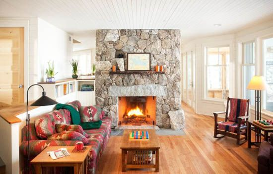 living room design with fireplace and rocking chair