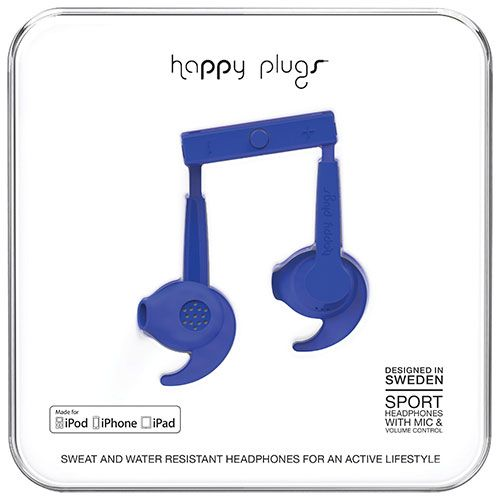Happy Plugs Sport In-Ear Noise Cancelling Headphones - Cobalt Blue
