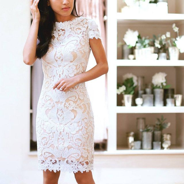 Tadashi Shoji white lace dress - love this for bridal activities (shower, bachelorette party, or wedding reception/dancing!)