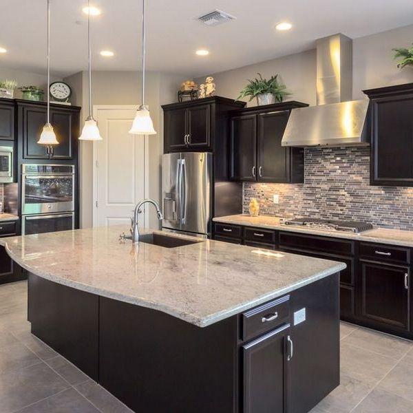 Kitchen Backsplash with Dark Cabinets Light Granite  the