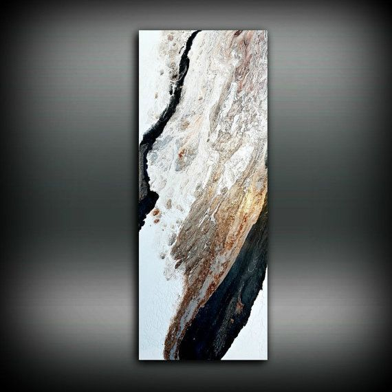 Copper Black and White Painting 16 x 40, Acrylic Painting on Canvas, Abstract Painting, Contemporary Art, Large Wall Art, By L Dawning Scott