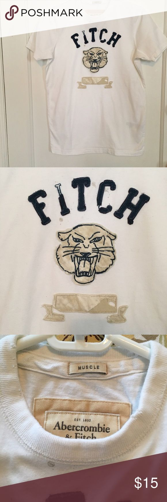 Abercrombie and Fitch shirt Abercrombie and Fitch white shirt. Muscle fit, vintage look. The collar, sleeve, end of the body as well as the letter has ripped look. Abercrombie & Fitch Shirts Tees - Short Sleeve