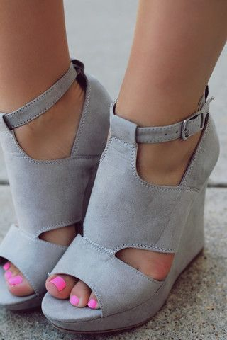 Grey sandal wedges would be ideal for the girls. I don't have to worry about height except with Helena.