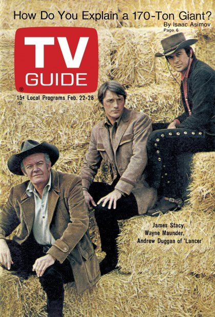 """TV Guide: February 22, 1969 - James Stacy, Wayne Maunder, and Andrew Duggan of """"Lancer"""""""