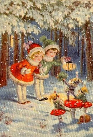 A light snow falls on three wee elves as they guide wayfarers through the Christmas Forest... ~*~ (gif, snow, winter)