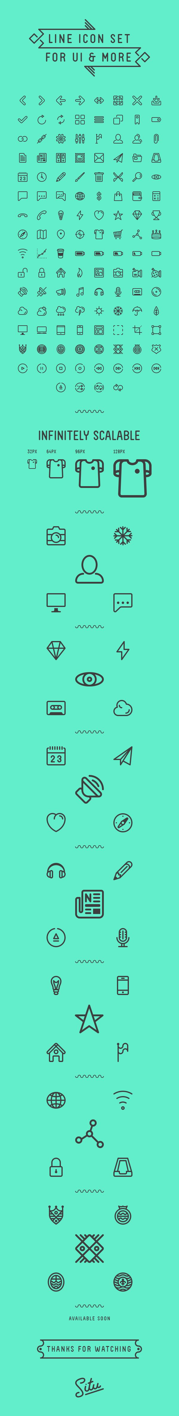 Line icon set for UI & more // Infinitely scalable by Situ Herrera, via Behance