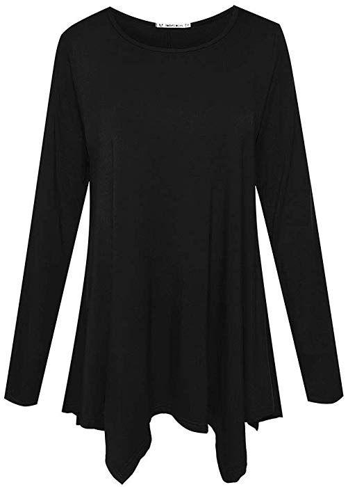 5eb8bc8468f2e Amazon.com  JollieLovin Womens Long Sleeve Tunic Top Loose Plus Size T Shirt  (Black M)  Clothing