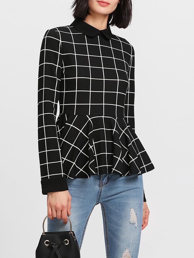 Shop Contrast Collar Grid Peplum Top online. SheIn offers Contrast Collar Grid Peplum Top & more to fit your fashionable needs.