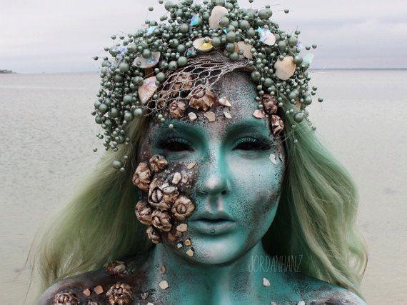 Mermaid headpiece, mermaid crown, mermaid headband, mermaid headdress, pearl headdress, mermaid wedding, mermaid cosplay, Halloween mermaid