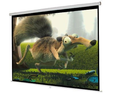 New 119 Manual Pull Down Projector Screen 84X84 Projection Home Movie Theater