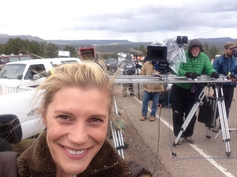 Katee Sackhoff on the set of #Longmire. Cannot wait for this show to return!