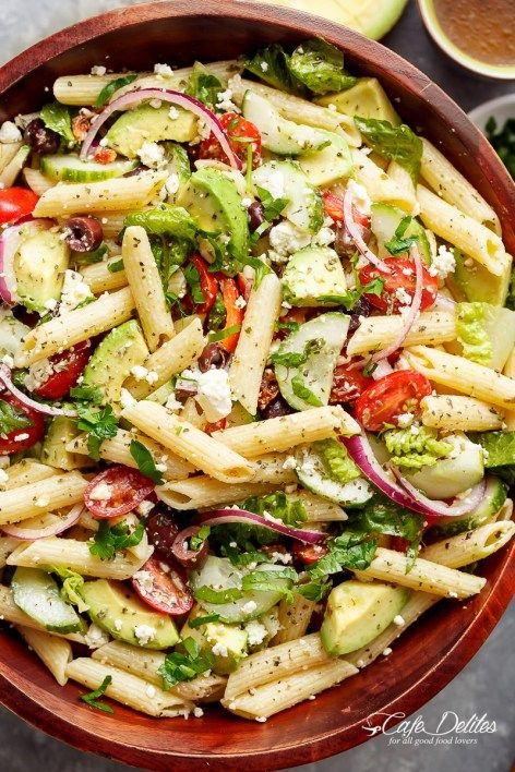 Lemon Herb Mediterranean Pasta Salad is loaded with so many Mediterranean salad ingredients, and drizzled an incredible Lemon Herb dressing! | http://cafedelites.com