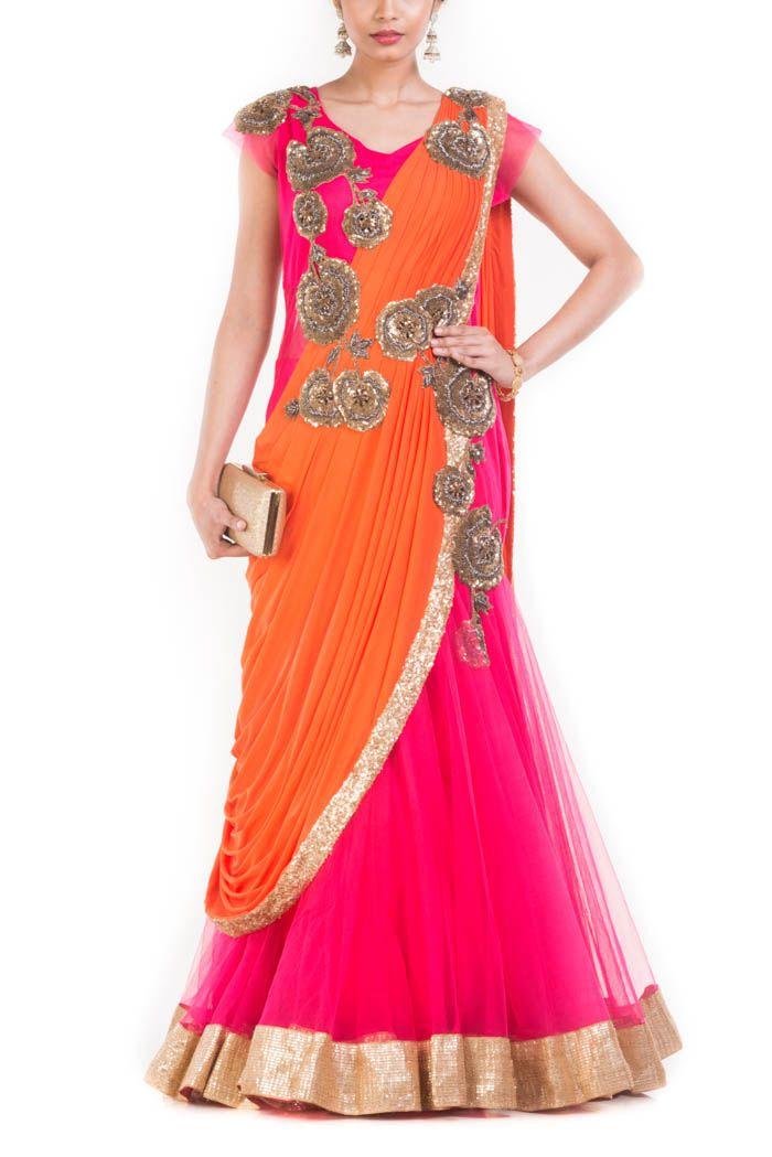 Online Fashion Store| Designer Clothing -Smritiapparels.com. Watermelon Pink Fish Cut Gown Saree.