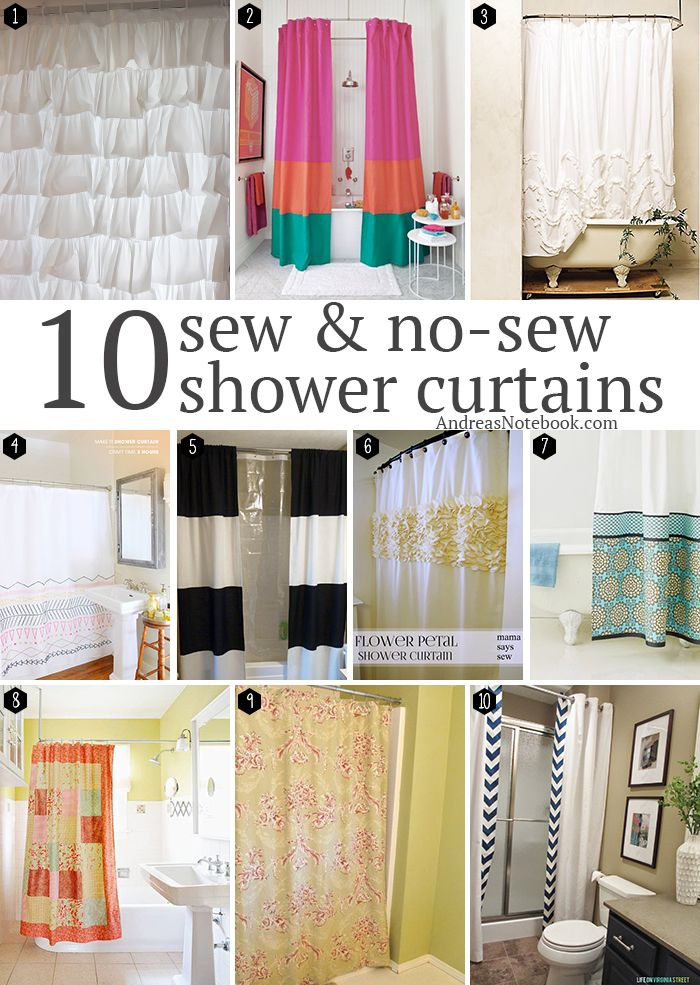 10 sew no sew diy shower curtain tutorials sewing tutorials. Black Bedroom Furniture Sets. Home Design Ideas