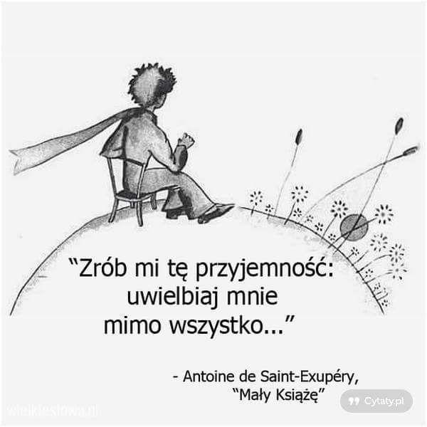 """""""Zrób mi tę przyjemność: uwielbiaj mnie mimo wszystko..."""" - Antoine de Saint-Exupery"""