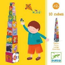 Djeco Stacking Blocks Bright, fun and friendly characters feature on this cubes with 4 sides of images. on one side are some funny animal characters climbing a ladder, on another there are toddlers doing day to day activities, then there are numbers and objects to count on one side and on the last side is an animal.  Great for teaching numbers, learning to count, recognising animals and also using to create stories. The biggest cube measures 15 x 15 cm.