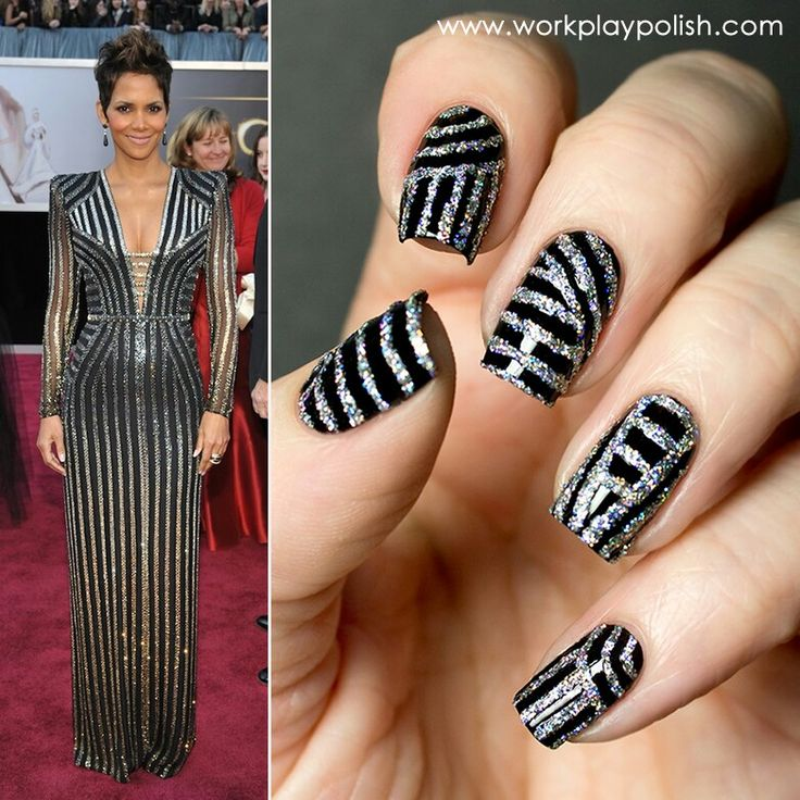 Halle berry inspired nails! Glitter bomb !