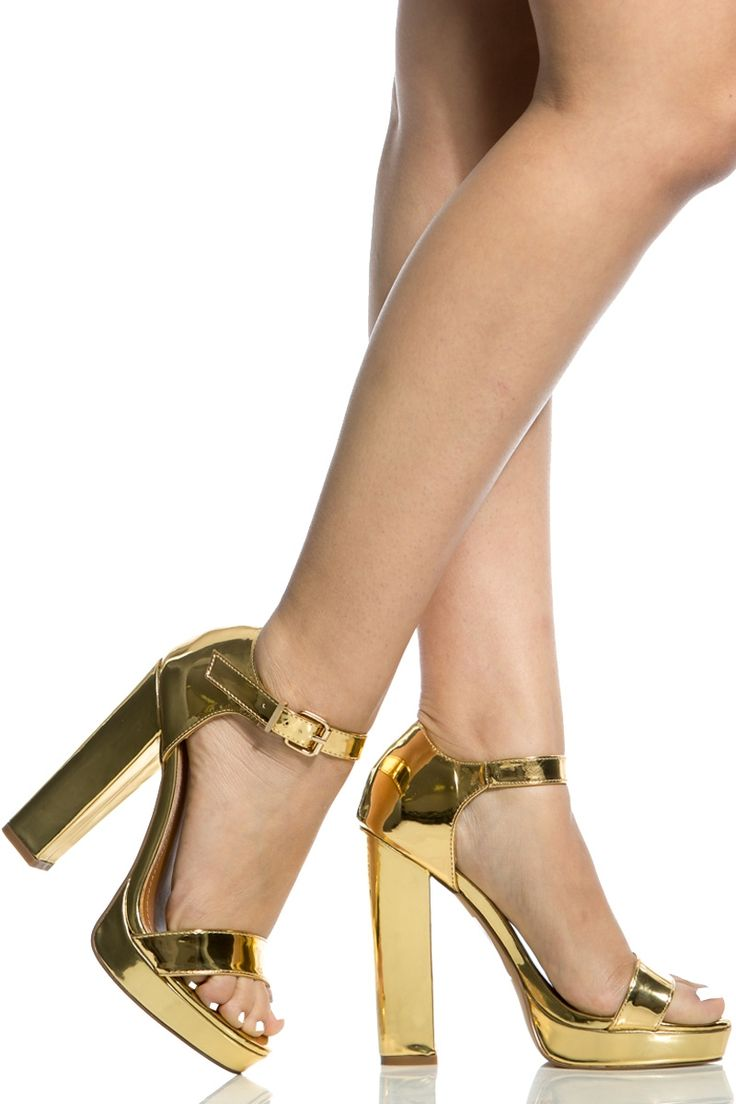 Gold Faux Patent Leather Chunky Platform Heels @ Cicihot Heel Shoes online store…