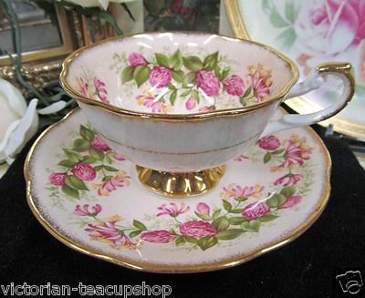 ❤Rosina Teacup Peach Wild Flowers Tea Cup and Saucer❤