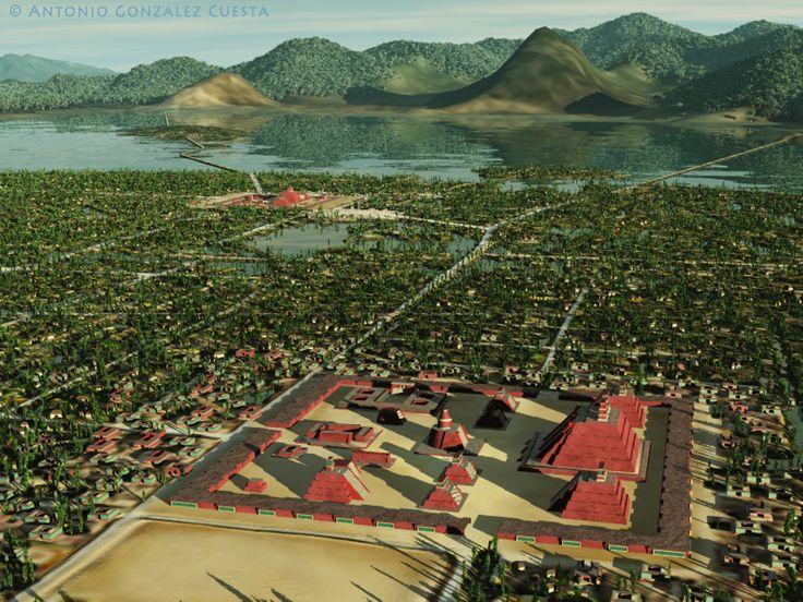 Tenochtitlan, representada de forma tal como posiblemente la vio Cortes en 1519…