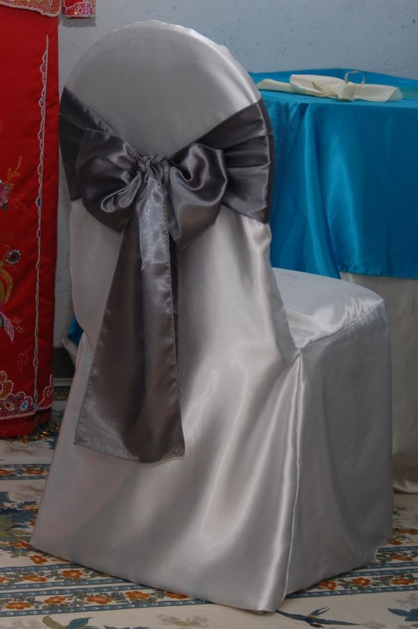 Banquet chair cover rental instock : spandex : white . ivory Poly : white . ivory . black . brown satin :white . ivory . black . brown . red . apply red . burgundy .silver . champagne .gold
