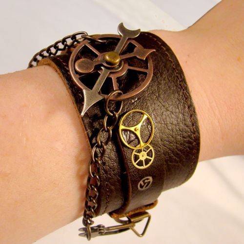 Steampunk Fetish Leather Cuff by ~SteamSociety on deviantART