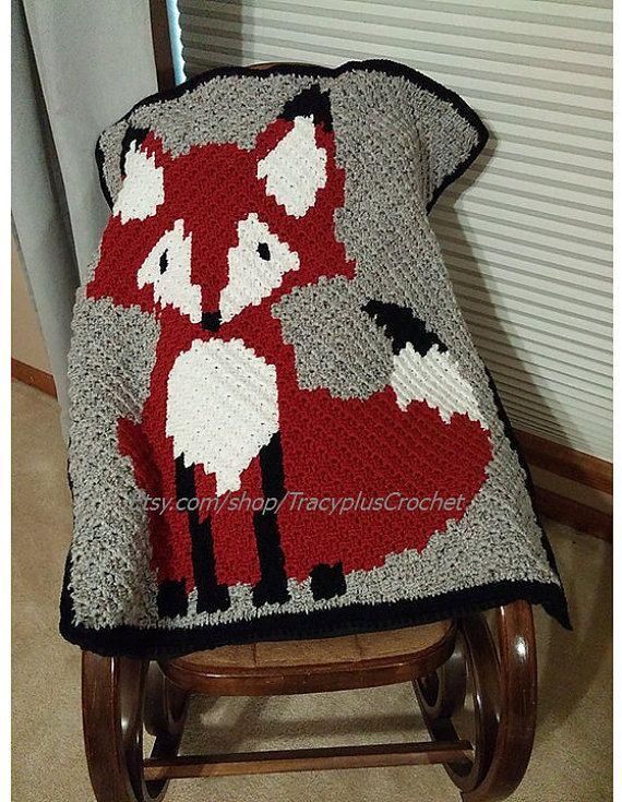 Fox blanket. Crochet Fox blanket. 37x31. by TracyplusCrochet
