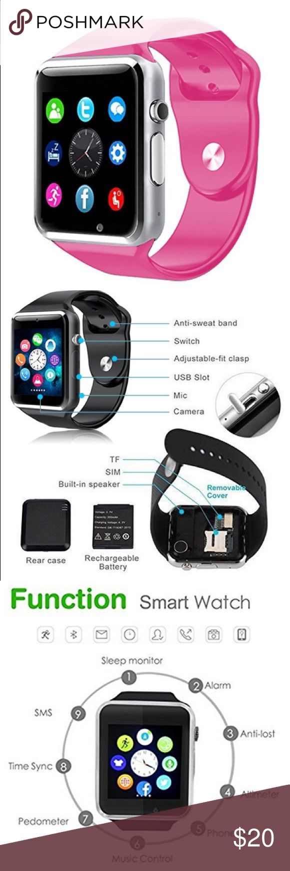 New Smart watch Bluetooth Touch Screen Smart Wrist watch Phone with Camera NOTE:  Android System can support all function in the description.  Below 2 functions can't sync with iPhone. But all other functions can use normally.  1. Notifier Alerts you when Apps on your Phone need Attention (ANDROID ONLY) 2. Read and Send Text Messages (ANDROID ONLY)  Use this watch as a standalone phone by inserting a sim card or pair it with your phone by Bluetooth or do both Accessories Watches