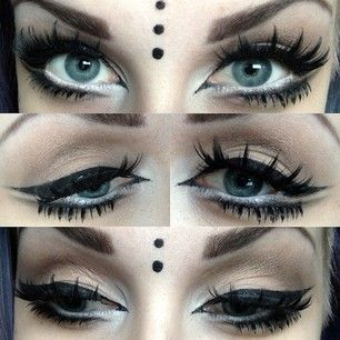 Witchouse pastel nu goth. Big cateyes. Eyeliner. Loose lashes. White extended waterline.