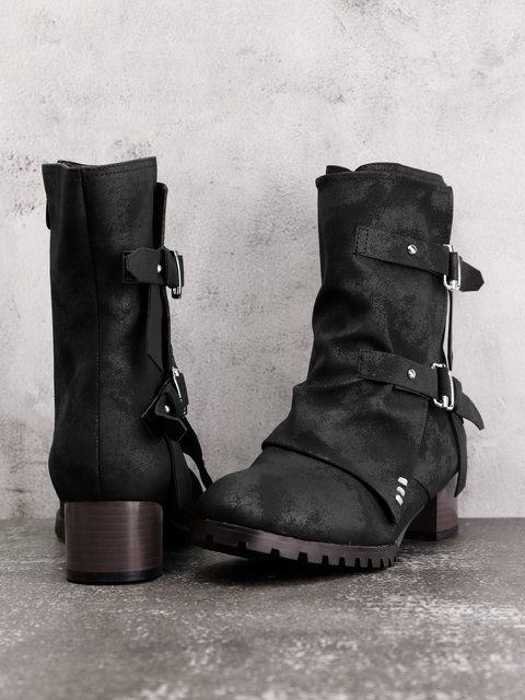 307ac1e8fae1 Women Winter Vintage Chunky Heel Zipper Boots
